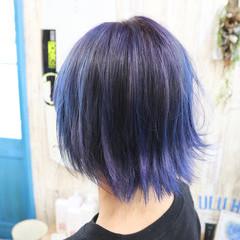 ガーリー デザインカラー 透明感カラー 外ハネ ヘアスタイルや髪型の写真・画像