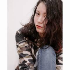 ミディアム 暗髪 ストリート ストレート ヘアスタイルや髪型の写真・画像