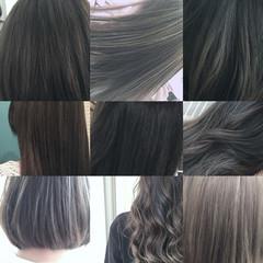 アッシュ グラデーションカラー 外国人風 ミディアム ヘアスタイルや髪型の写真・画像