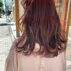 ストリート セミロング ピンクラベンダー ベリーピンク ヘアスタイルや髪型の写真・画像