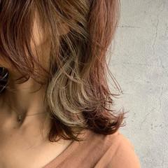 外ハネボブ インナーカラー ニュアンスウルフ ウルフカット ヘアスタイルや髪型の写真・画像