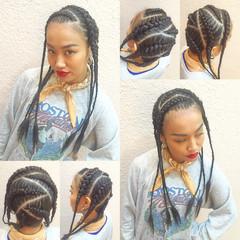 編み込み ロング ストリート コーンロウ ヘアスタイルや髪型の写真・画像