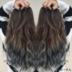 ストリート グレージュ ロング 暗髪 ヘアスタイルや髪型の写真・画像