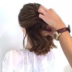 簡単ヘアアレンジ 涼しげ 女子会 夏 ヘアスタイルや髪型の写真・画像
