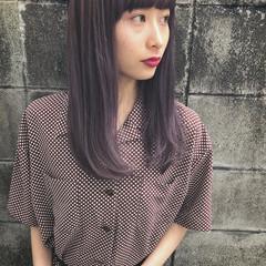 大人女子 セミロング こなれ感 ラベンダーピンク ヘアスタイルや髪型の写真・画像