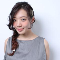 簡単ヘアアレンジ ショート フィッシュボーン ヘアアクセ ヘアスタイルや髪型の写真・画像