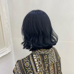 ブルージュ ブルーブラック ネイビーブルー モード ヘアスタイルや髪型の写真・画像