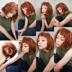 ショートバング パーマ ウェーブ 外国人風 ヘアスタイルや髪型の写真・画像
