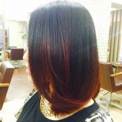 グラデーションカラー ピンク レッド ミディアム ヘアスタイルや髪型の写真・画像