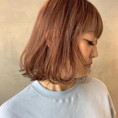ピンクラベンダー ボブ ナチュラル ラベンダーピンク ヘアスタイルや髪型の写真・画像