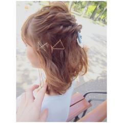 夏 ミディアム ブラウン ヘアアレンジ ヘアスタイルや髪型の写真・画像