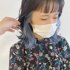 パステルカラー インナーカラー 透明感カラー ブルー ヘアスタイルや髪型の写真・画像