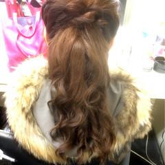 ガーリー セミロング ポニーテール ヘアアレンジ ヘアスタイルや髪型の写真・画像