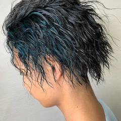 ショート 黒髪 ストリート パーマ ヘアスタイルや髪型の写真・画像