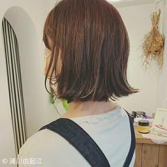ハイライト 切りっぱなしボブ アンニュイほつれヘア ボブ ヘアスタイルや髪型の写真・画像