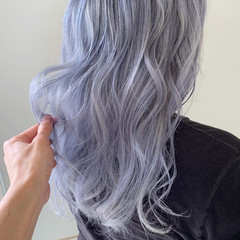 外国人風カラー ハイトーンカラー ホワイトシルバー セミロング ヘアスタイルや髪型の写真・画像