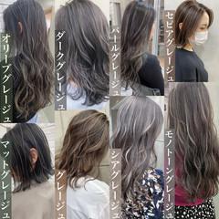 大人ハイライト ハイライト グレージュ セミロング ヘアスタイルや髪型の写真・画像
