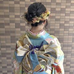 卒業式 ミディアム ヘアセット 成人式 ヘアスタイルや髪型の写真・画像