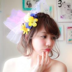 ブライダル ゆるふわ ヘアアレンジ フェミニン ヘアスタイルや髪型の写真・画像