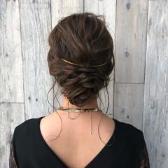 外国人風 セミロング 編み込み お団子 ヘアスタイルや髪型の写真・画像