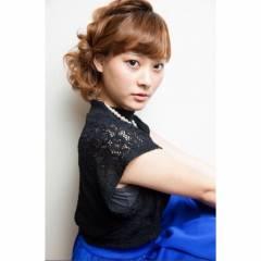 ヘアアレンジ ガーリー セミロング ヘアスタイルや髪型の写真・画像
