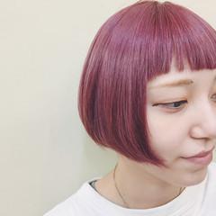 オン眉 ボブ リップライン ピンク ヘアスタイルや髪型の写真・画像
