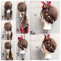 ヘアアクセ セミロング 簡単ヘアアレンジ ショート ヘアスタイルや髪型の写真・画像