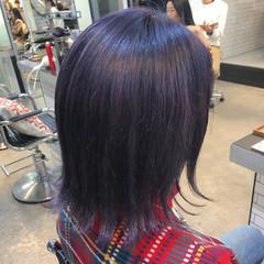 モード ブルーラベンダー アッシュバイオレット バイオレットカラー ヘアスタイルや髪型の写真・画像