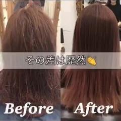 ナチュラル 髪質改善 縮毛矯正 セミロング ヘアスタイルや髪型の写真・画像