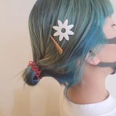 韓国ヘア エメラルドグリーンカラー モード ヘアアレンジ ヘアスタイルや髪型の写真・画像