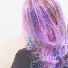 ハイライト バレイヤージュ ストリート パープル ヘアスタイルや髪型の写真・画像