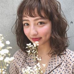 フェミニン ヘアアレンジ ミディアム スウィート ヘアスタイルや髪型の写真・画像