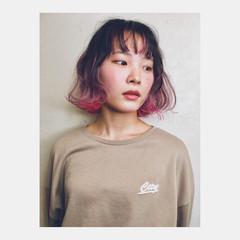ハイトーン インナーカラー ピンク グラデーションカラー ヘアスタイルや髪型の写真・画像