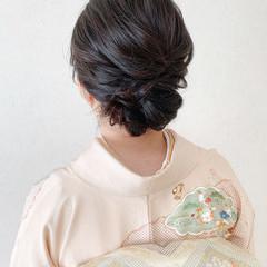 エレガント 訪問着 ミディアム 和装ヘア ヘアスタイルや髪型の写真・画像