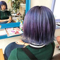 ブルー ボブ パープル 個性的 ヘアスタイルや髪型の写真・画像