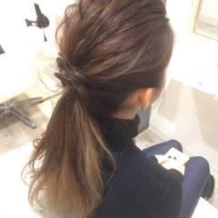 ショート 黒髪 ポニーテール グラデーションカラー ヘアスタイルや髪型の写真・画像