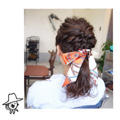 ヘアアクセ ナチュラル ポニーテール 結婚式 ヘアスタイルや髪型の写真・画像