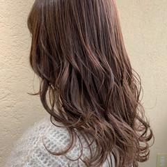 セミロング ピンクラベンダー レイヤーカット ラベンダーピンク ヘアスタイルや髪型の写真・画像