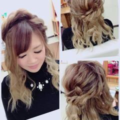 編み込み ヘアアレンジ ハーフアップ ガーリー ヘアスタイルや髪型の写真・画像
