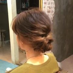 ゆるふわ ミディアム ヘアアレンジ 夏 ヘアスタイルや髪型の写真・画像