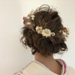 結婚式 ガーリー ヘアアレンジ ミディアム ヘアスタイルや髪型の写真・画像