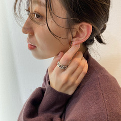 ミディアム カーキ フェミニン ハイライト ヘアスタイルや髪型の写真・画像