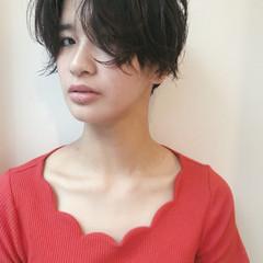 パーマ ショート 黒髪 マッシュ ヘアスタイルや髪型の写真・画像