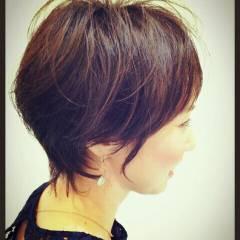 黒髪 ショート 大人かわいい ナチュラル ヘアスタイルや髪型の写真・画像