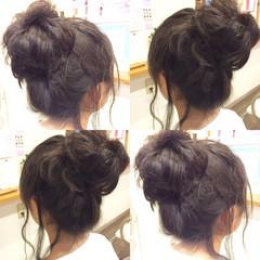 簡単ヘアアレンジ ガーリー 時短 セミロング ヘアスタイルや髪型の写真・画像