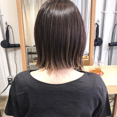 切りっぱなしボブ ミニボブ グラデーションカラー インナーカラー ヘアスタイルや髪型の写真・画像