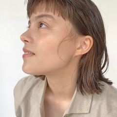 ナチュラル ボブ ワイドバング 抜け感 ヘアスタイルや髪型の写真・画像