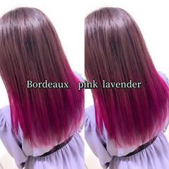 ボルドー 裾カラー ピンクラベンダー グラデーションカラー ヘアスタイルや髪型の写真・画像