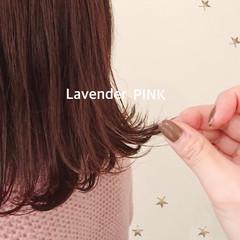 ミディアム ガーリー ラベンダー ラベンダーピンク ヘアスタイルや髪型の写真・画像