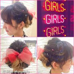 アップスタイル グラデーションカラー ヘアアレンジ ロング ヘアスタイルや髪型の写真・画像